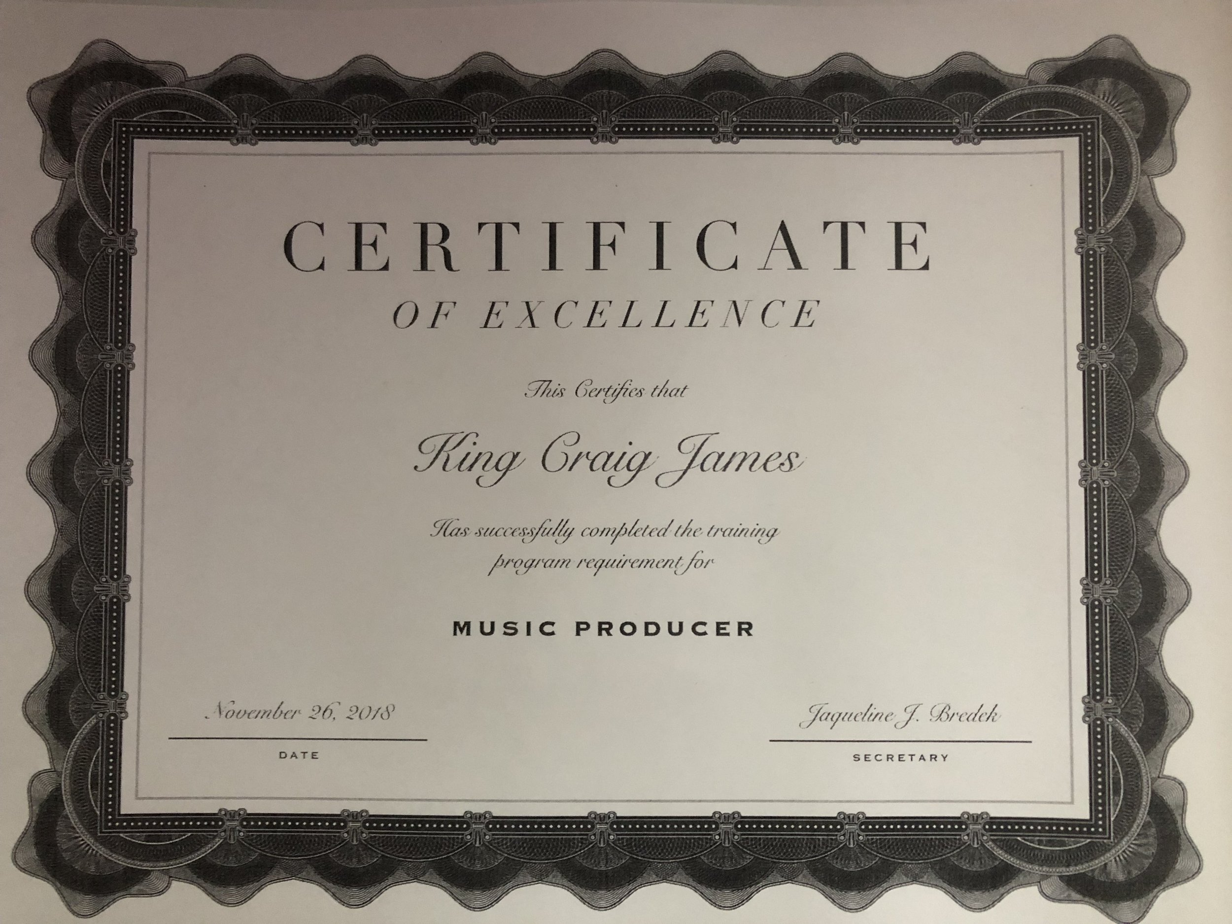 A certificate of excellence for me