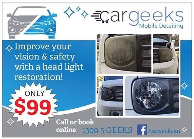Headlight restorations for only $99. DM or call us on 13005 GEEKS to book now. Penrith & surrounding areas only!