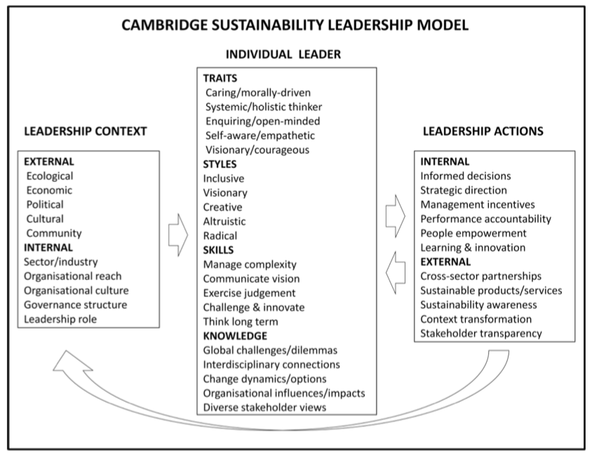 "From the paper ""   Sustainability Leadership: Linking Theory and Practice""   ,  by Wayne Visser and Polly Courtice (2011)"