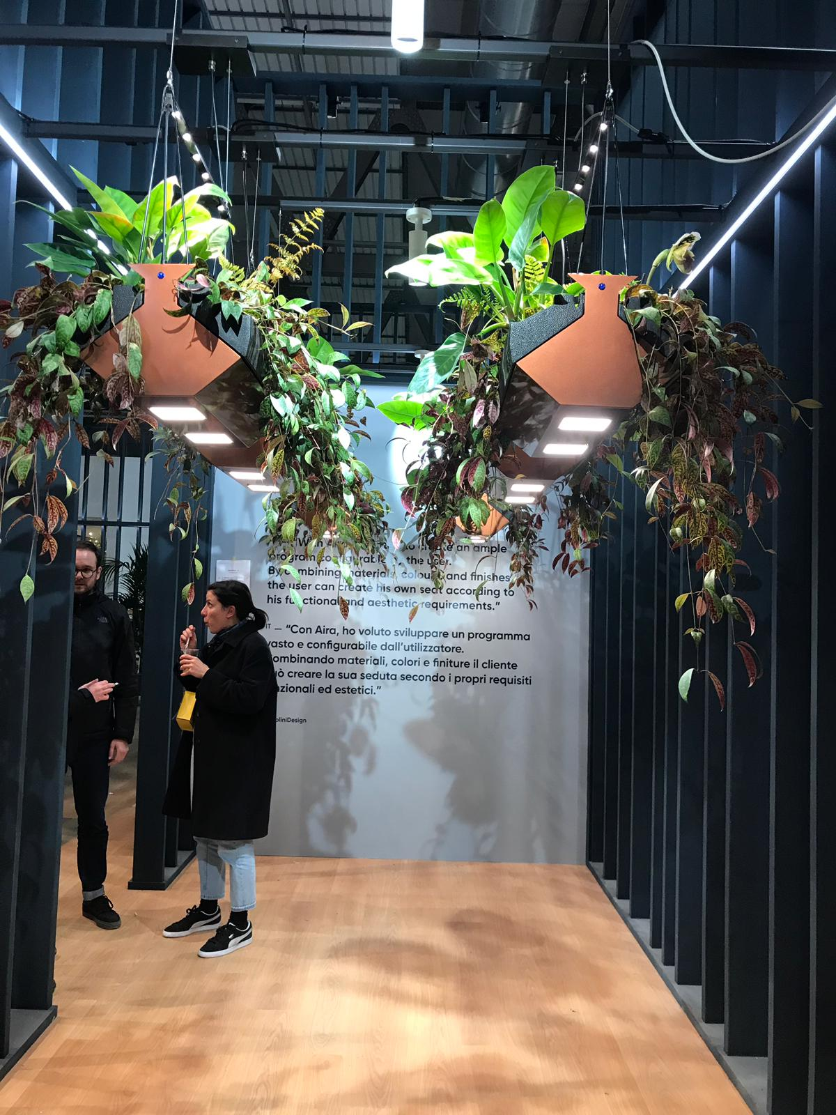Illuminated hanging garden concept by  Zetacube  at Euroluce 2019 featuring the ultra-thin  Hikari SQ  by Lightly Technologies.