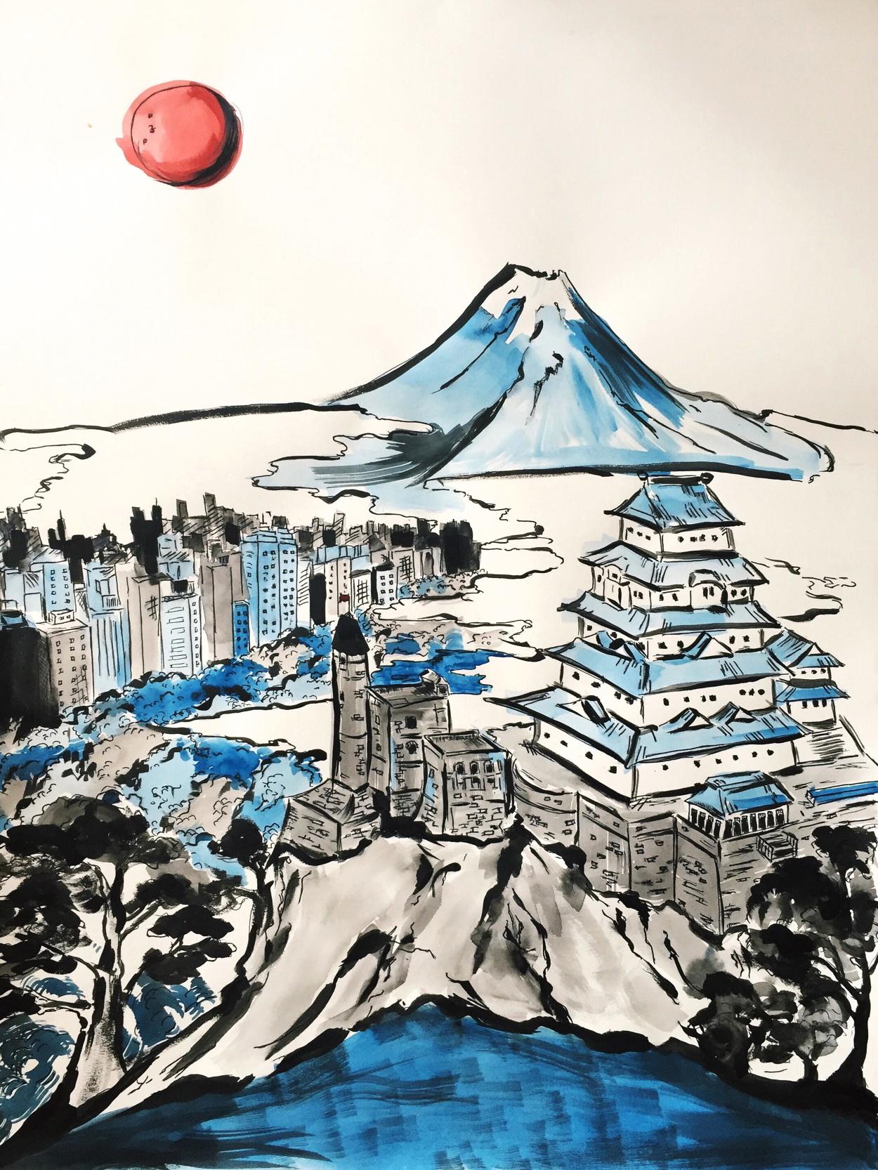 """Palais de Tokyo  (2016) - Watercolor on paper - 18x24"""" (SOLD)"""