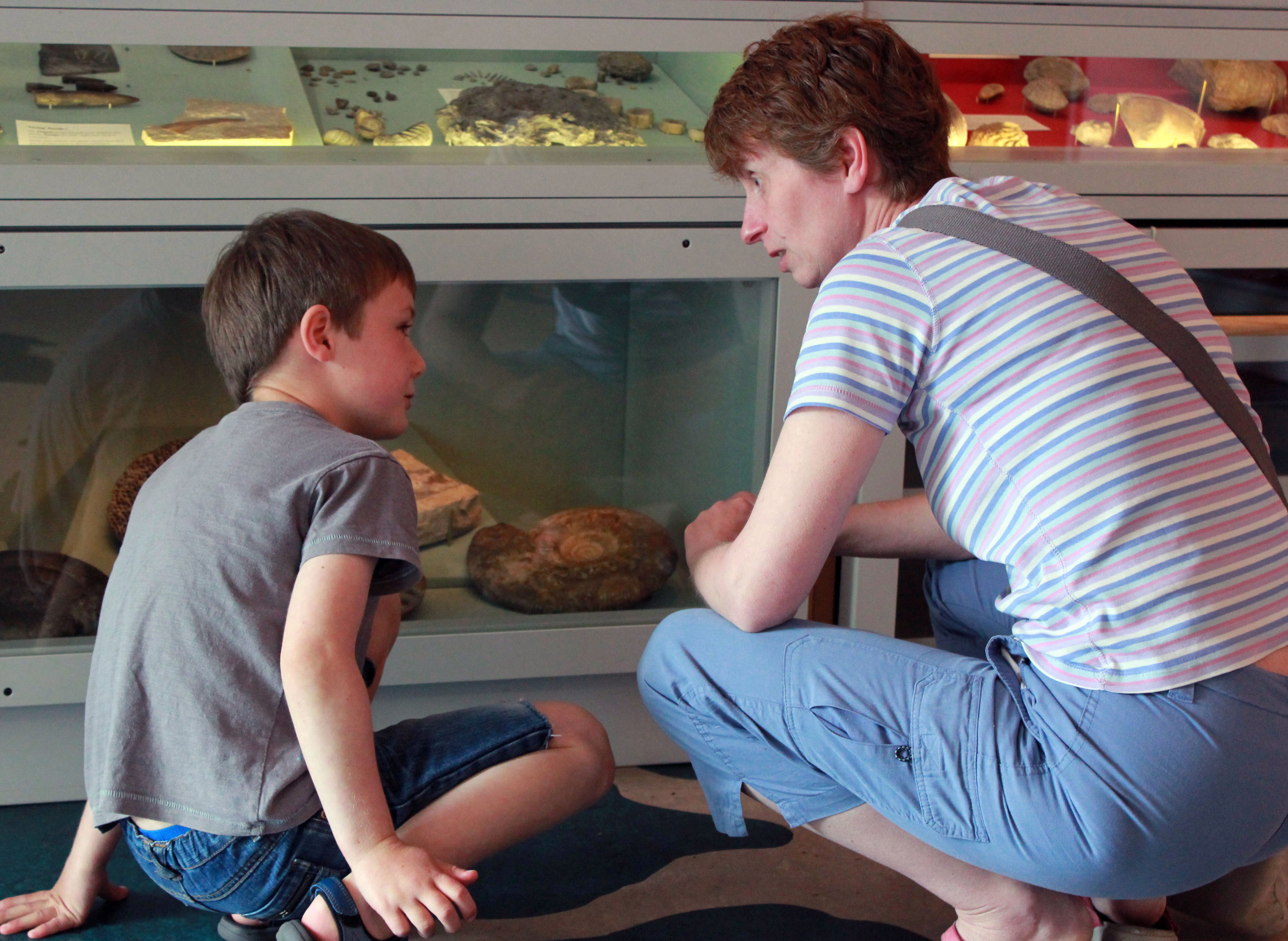 a CHILD AND MOTHER DISCUSSING GEOLOGY OBJECTS THEY ARE LOOKING AT IN A MUSEUM DISPLAY CASE