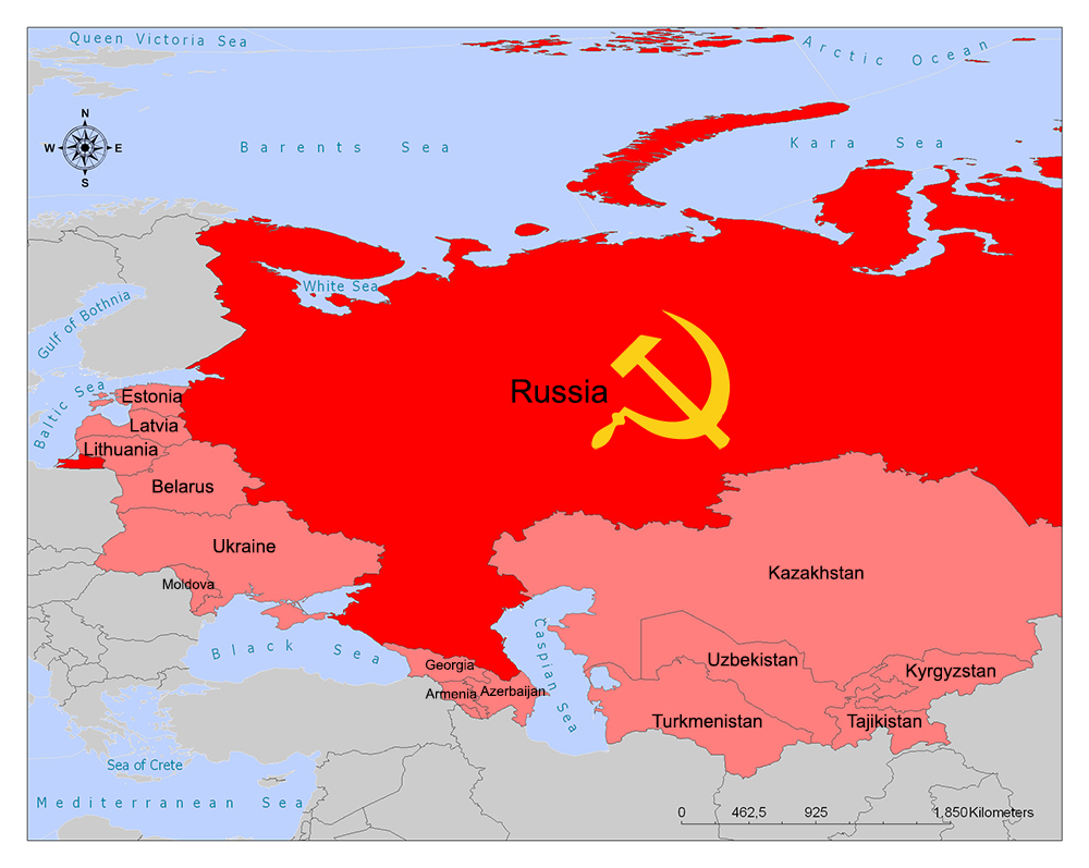 All the republics that were in the Soviet Union are in red and pink.