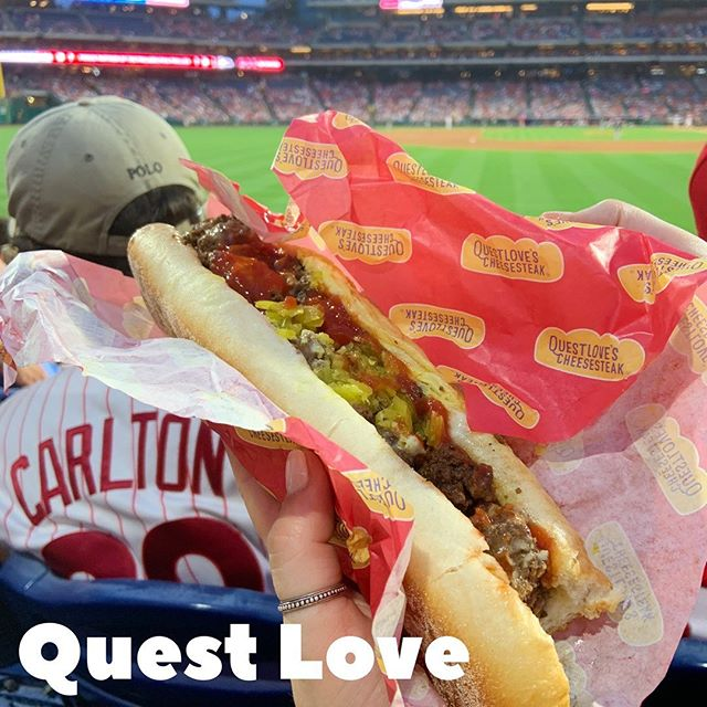 "If you're enjoying a @phillies game you gotta try a @questlovesfood cheesesteak, and that's just a fact. Although vegan, you would never be able to tell. It's a satisfying glimpse into the world of cheesesteaks for vegans and an equally satisfying feaux-meat-haven for my dedicated carnivores out there. ⁣ ⁣ The ""meat"" (from @impossible_foods ) was greasy and savory. The cheese was salty and not (!) weird when melted. The banana peppers added an acidic crunch. The roll was a delicate sponge for all the flavors dripping off the sandwich and down my forearms. A messy, meaty, mouth-watering meal.  And a FIRE cheesesteak. ⁣ ⁣ 🍽️🍽️🍽️🍽️🍽️🍽️⁣ #phillyfoodies #phillyfoodporn #swagfoodphilly #phillyfoodie #philadelphiafoodie #phillyeats #phillyfoods #philadelphiafood #cityoffoodidelphia #foodblogger #foodheaven #foodism #philly #food #swag #foodies #food #eagles #cheesesteak #jawn #phillyfood #phillyfoods #phillies #foodporn #munchies #foodswag #phillycheesesteak #vegancheesesteak #impossiblemeat #philliesfan"
