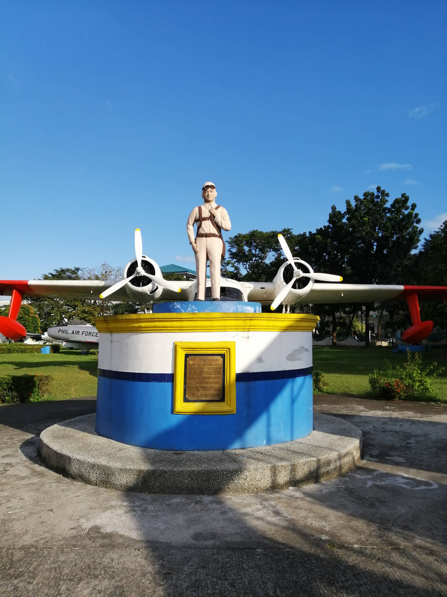 A monument dedicated to Jesus A. Villamor, a Filipino American pilot pioneer who fought the Japanese during World War 2.