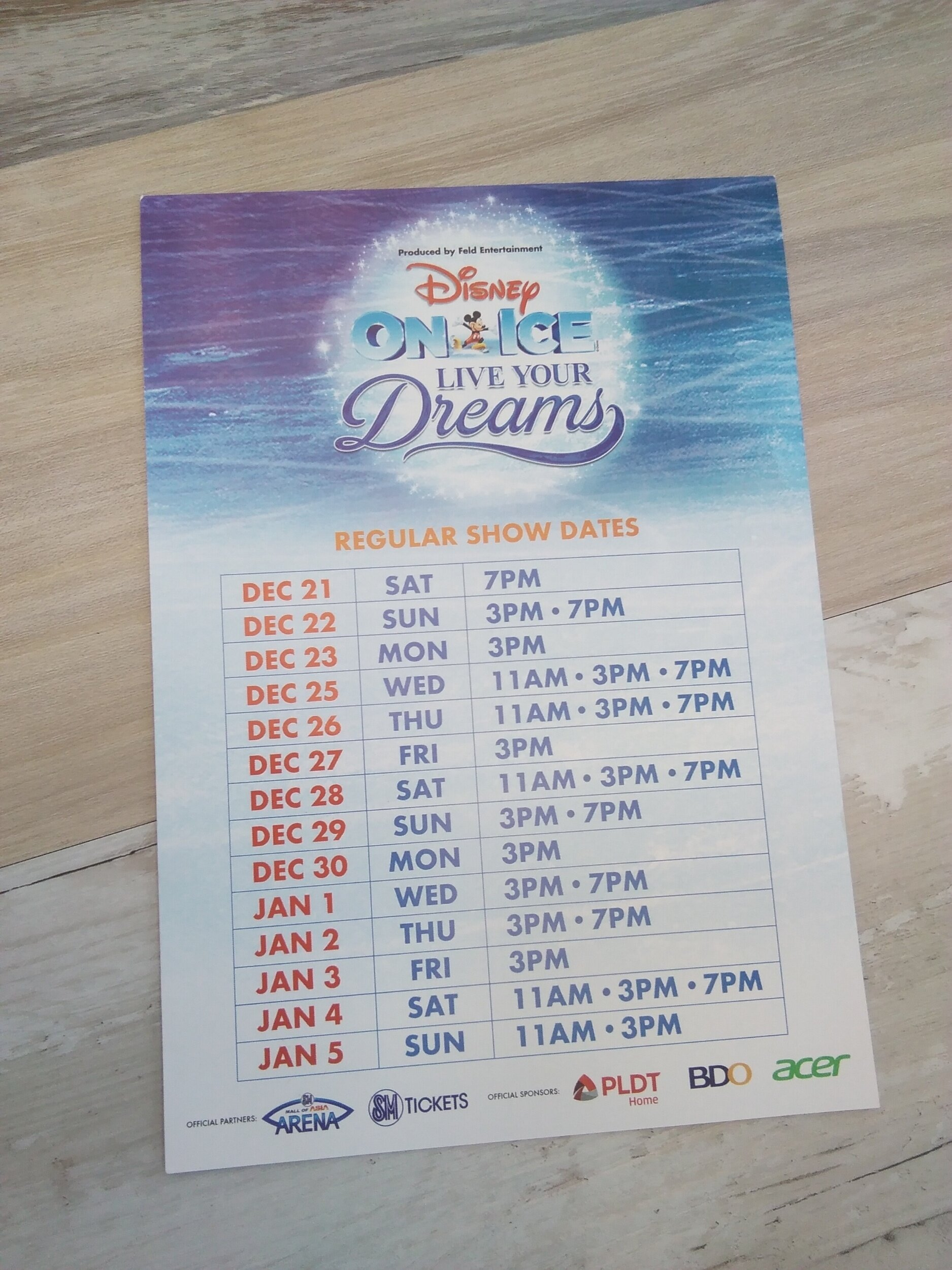 DISNEY ON ICE SCHEDULE
