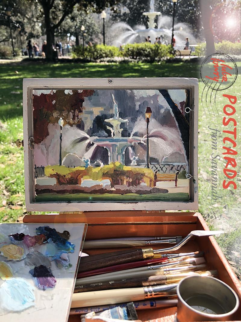 Luba's Forsyth Park Fountain painting in progress.
