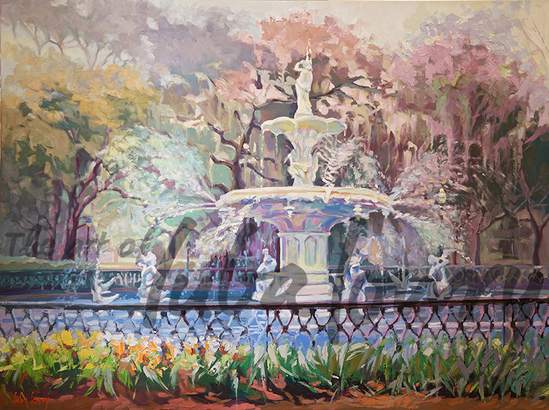 "Forsyth Park Fountain by Luba Lowry, 48""x36"", Oil on Canvas"