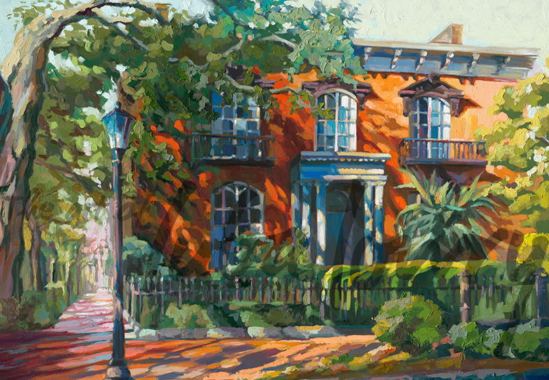 "Mercer-Williams House by Luba Lowry, 48""x36"", Oil on Canvas"