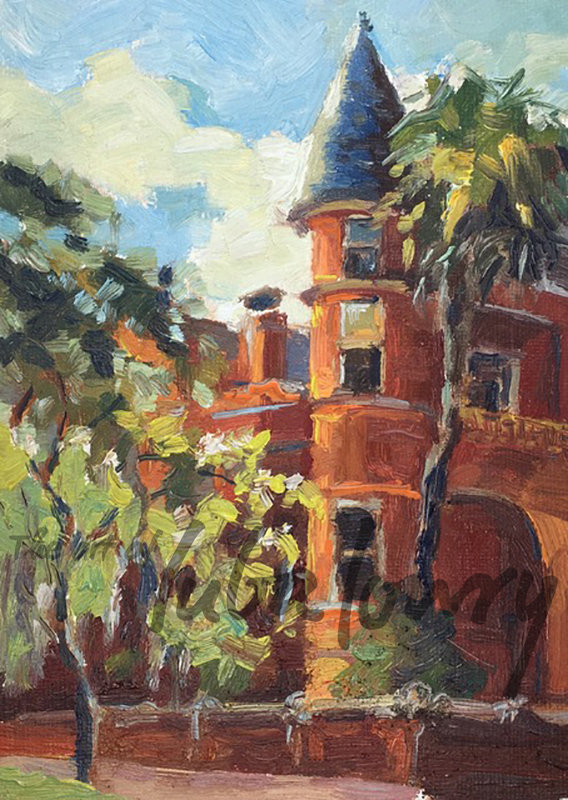 "Mansion on Forsyth Park by Luba Lowry, 5""x7"", Oil on Canvas"