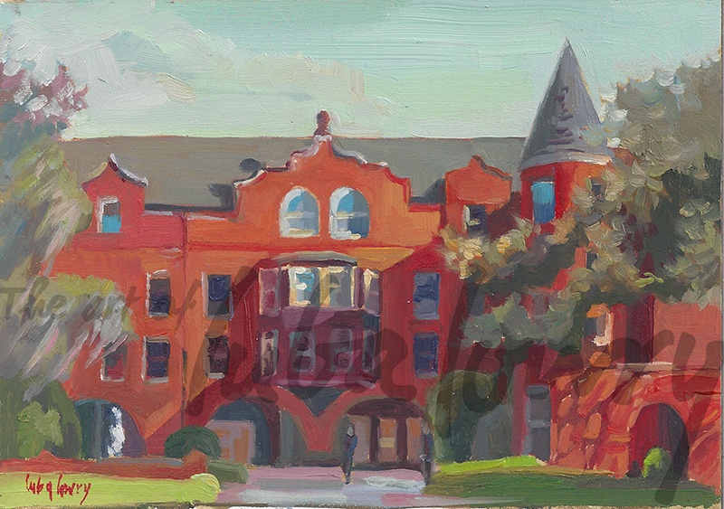 "Mansion on Forsyth Park by Luba Lowry, 7""x5"", Oil on Canvas"