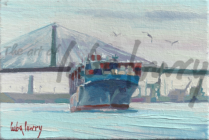 """Cargo Ship by Luba Lowry, 7""""x5"""", Oil on Canvas"""