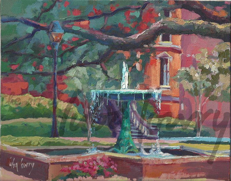 """Columbia Square by Luba Lowry, 8""""x10"""", Oil on Panel En Plein Air"""