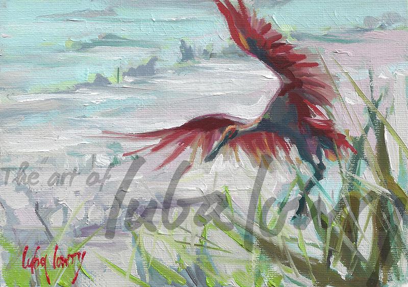 "Birds of Savannah by Luba Lowry, 7""x5"", Oil on Panel"