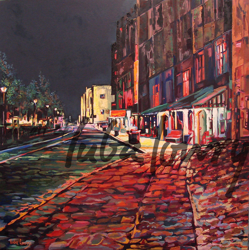 "Night on River Street by Luba Lowry, 30""x30"", Oil on Canvas: Private Collection"