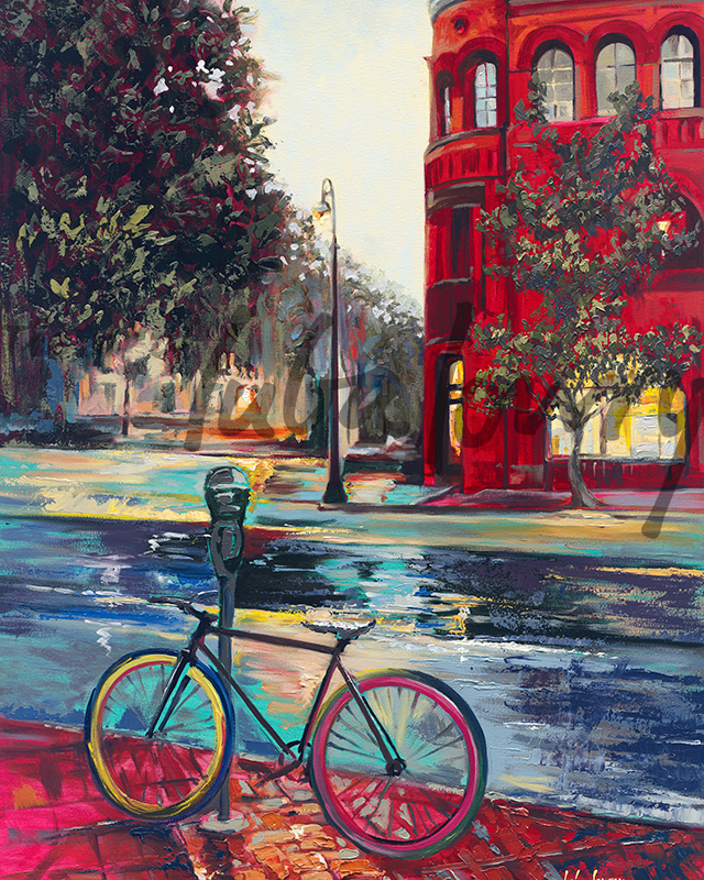 """Night on Bull Street by Luba Lowry, 24""""x36"""", Oil on Canvas: Private Collection"""
