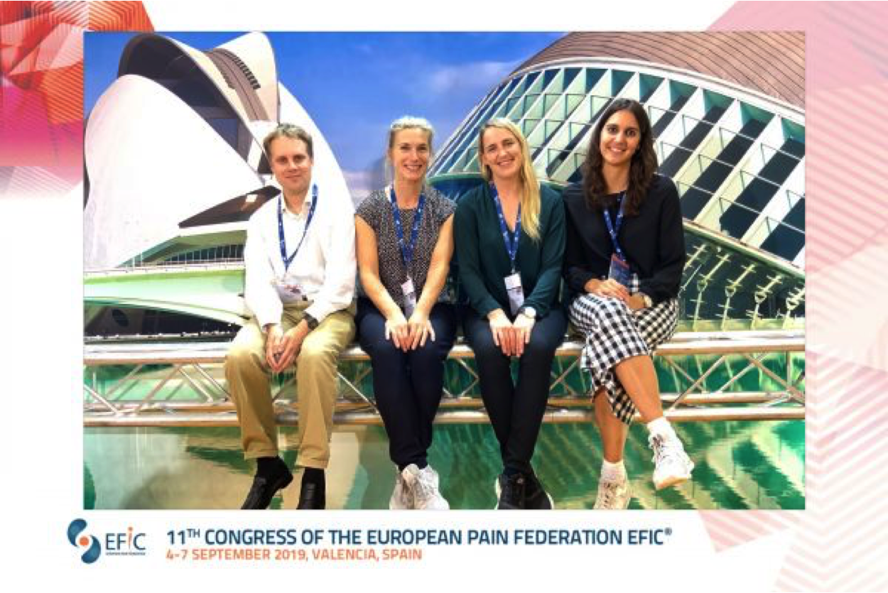 - September 7, 2019A delegation at the EFIC congressJens Fust, Maria Lalouni, Moa Pontén and Silvia Fanton at the European Congress for Pain in Valencia, Spain.