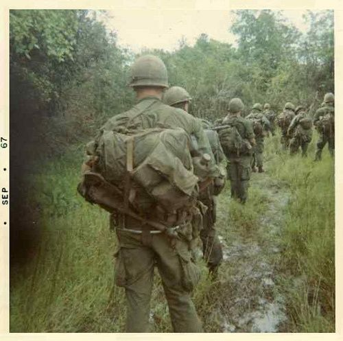 Vietnam War, Soldier walking in mud
