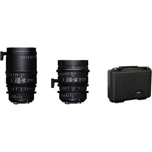 Sigma Cine Zoom Lens Set - This bundle of the Sigma 18-35mm and Sigma 50-100mm T2 Cine High Speed Zoom Lenses both with a Canon EF mount features focus scales marked in feet and provides an image circle that covers Super 35mm-sized sensors. Each lens features a maximum T-stop of 2, and the aperture does not ramp over the zoom range. They share common lens gear positions with each other, which makes for rapid lens changes.$75 Per Day