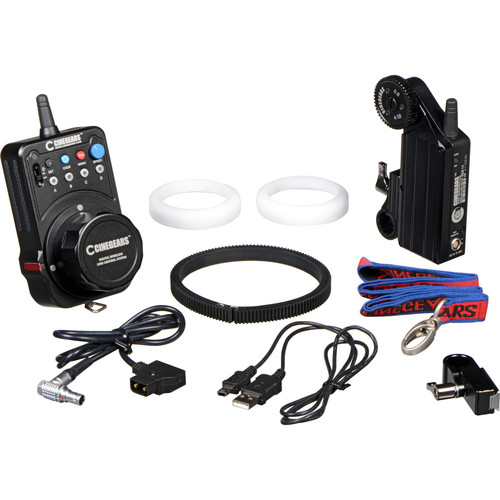 CINEGEARS Single-Axis Wireless Follow Focus Kit - Wireless Express Focus ControllerStandard Wireless Lens Control Motor19mm Mounting Bracket19mm to 15mm Adapter BushingAdditional Focus Marking DiscCustomizable Rubber Lens Gear RingWaterproof Case with Foam Inserts$50 Per Day