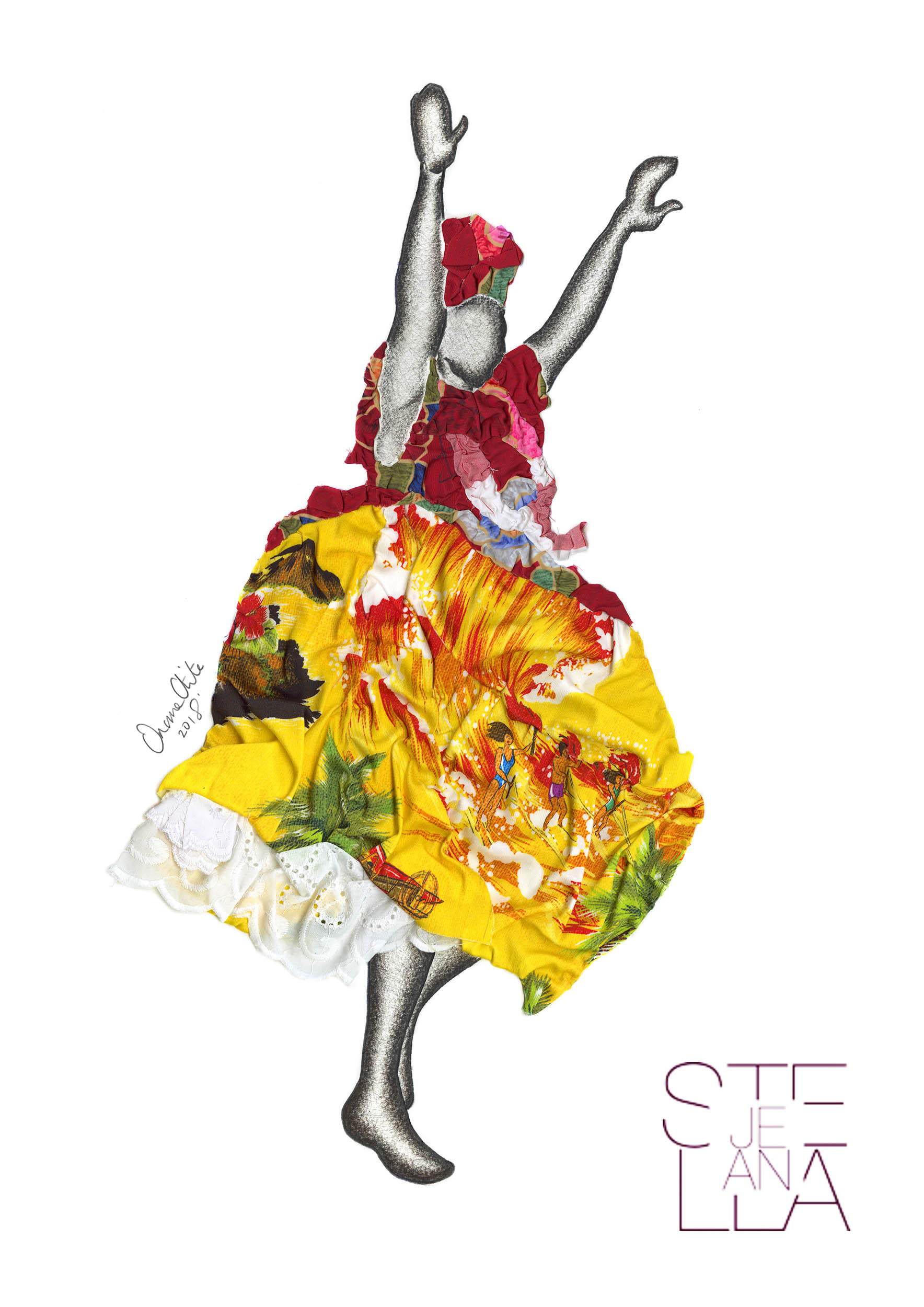 Artwork realised for Stella Jean SS19 fashion show as part of Milan Fashion Week 2018. Taking inspiration from Benin and Bahia costume this design was made using Stella Jean textiles.
