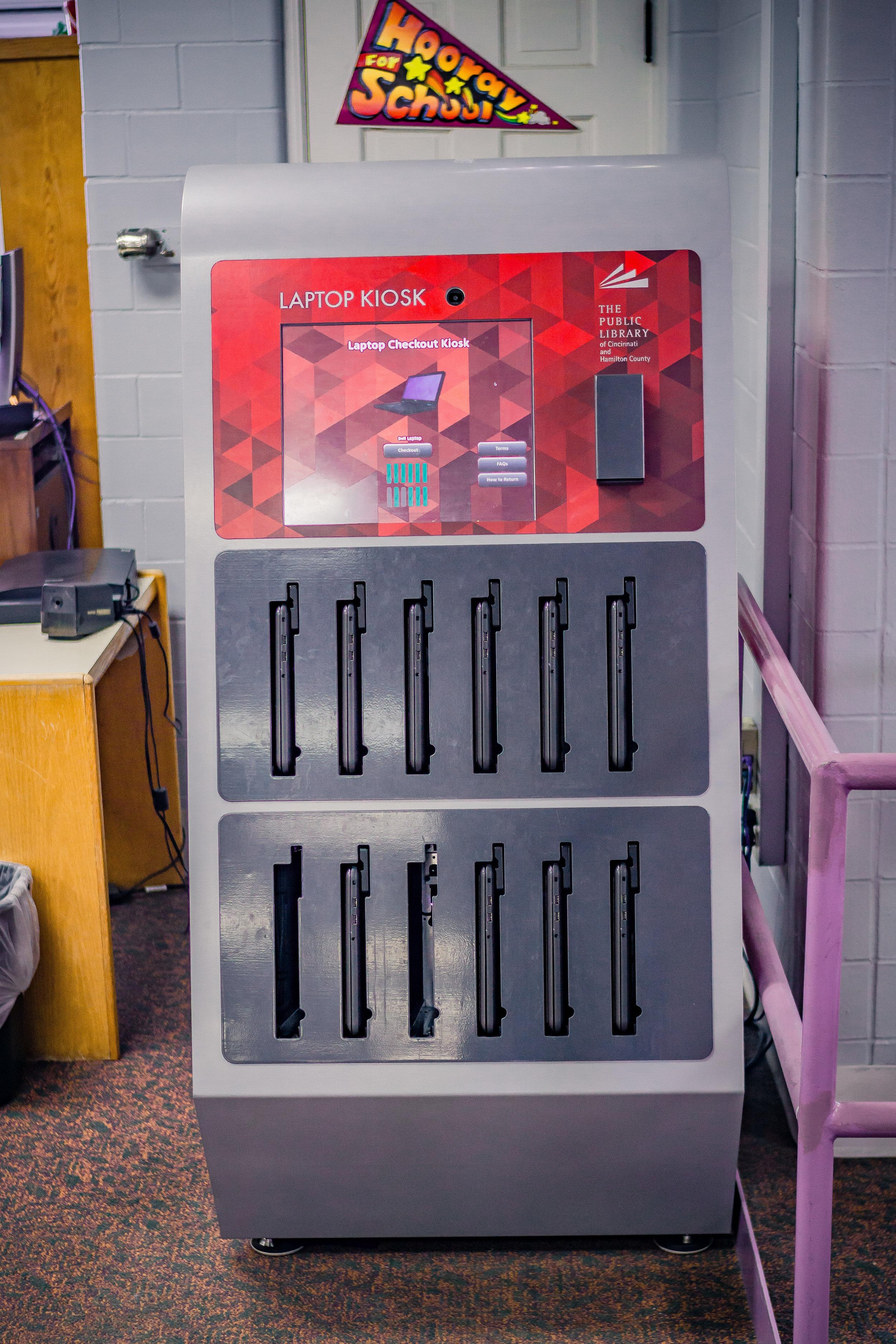 Laptop kiosk at Mt. Healthy Library Branch / photo by Salvador Mendoza
