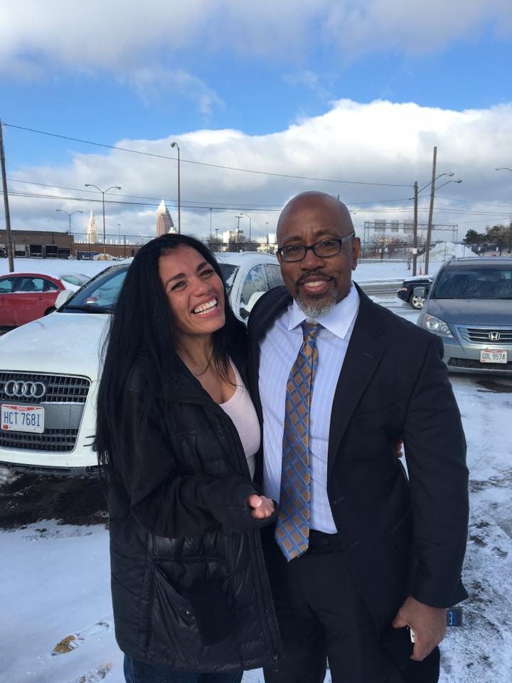 Tyra Patterson (left) and David Singleton (right) on Patterson's release day, December, 25, 2017