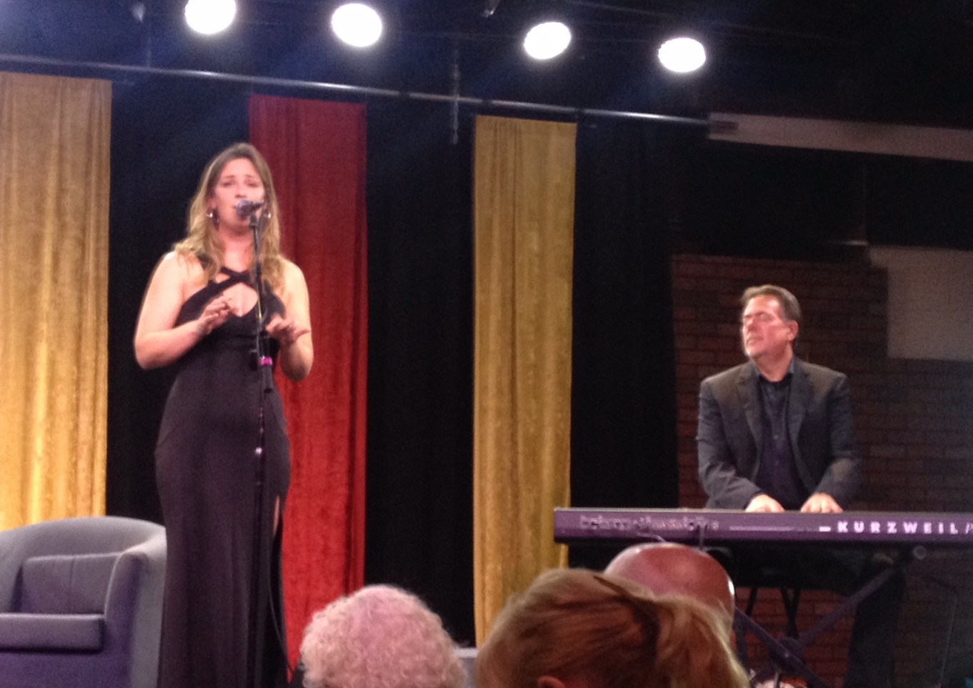 Lindsey Webster performs at a live KSBR broadcast of Breakfast with Gary & Kelly.