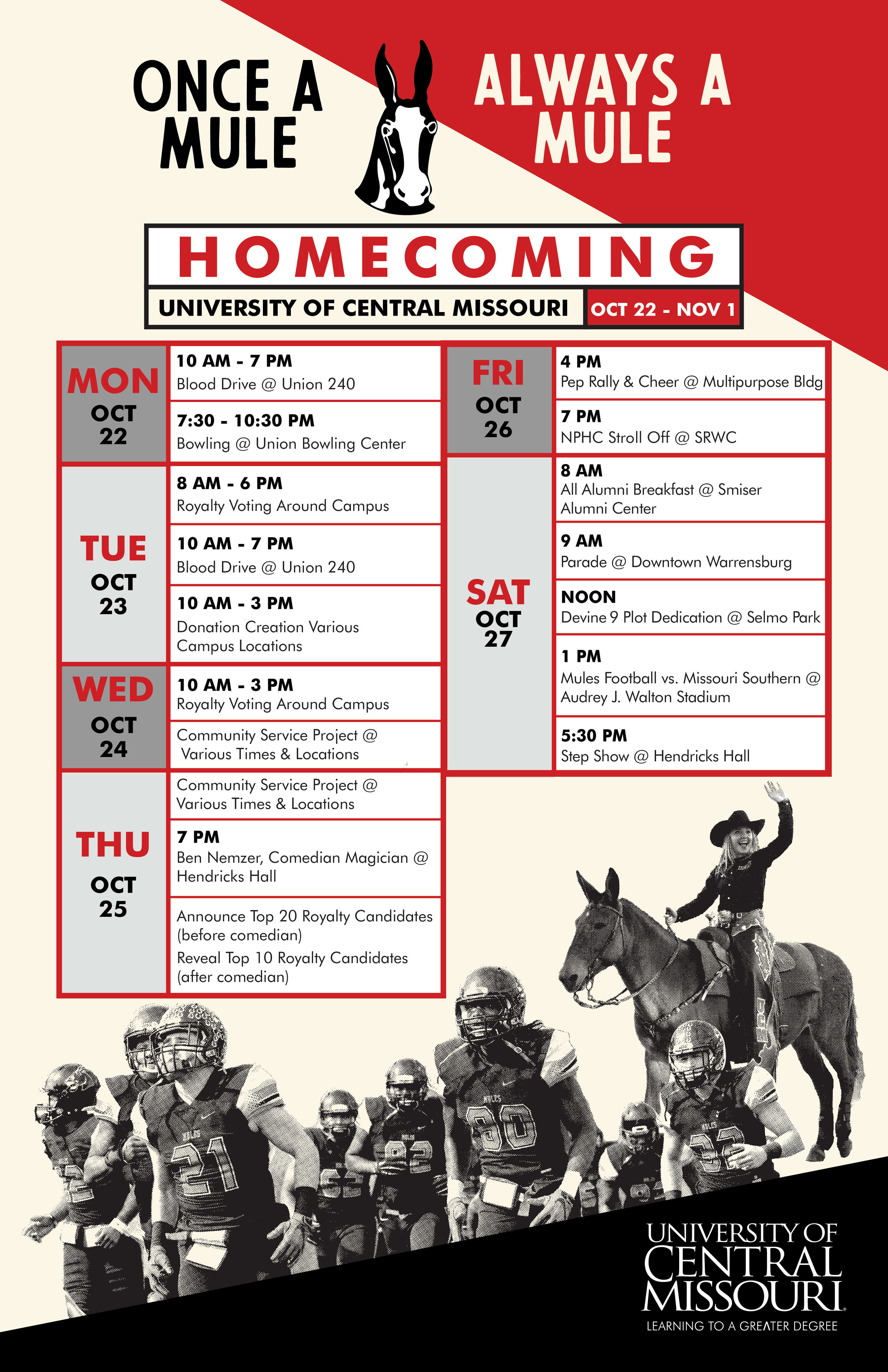 Homecoming poster for promotion around campus.