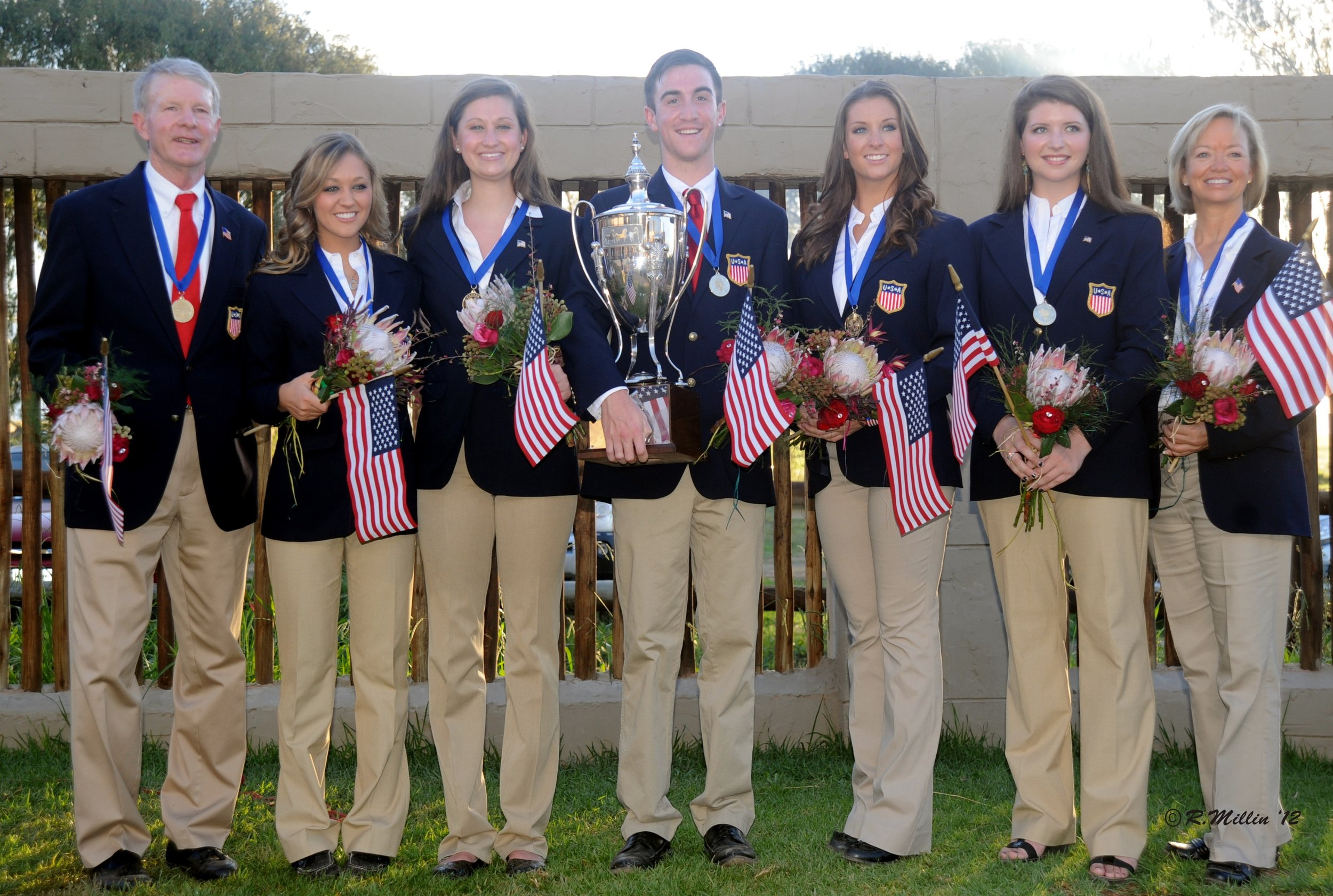 The gold medal-winning Five-Gaited U.S. Saddle Seat Equitation World Cup team. Photo by Ross Millin.