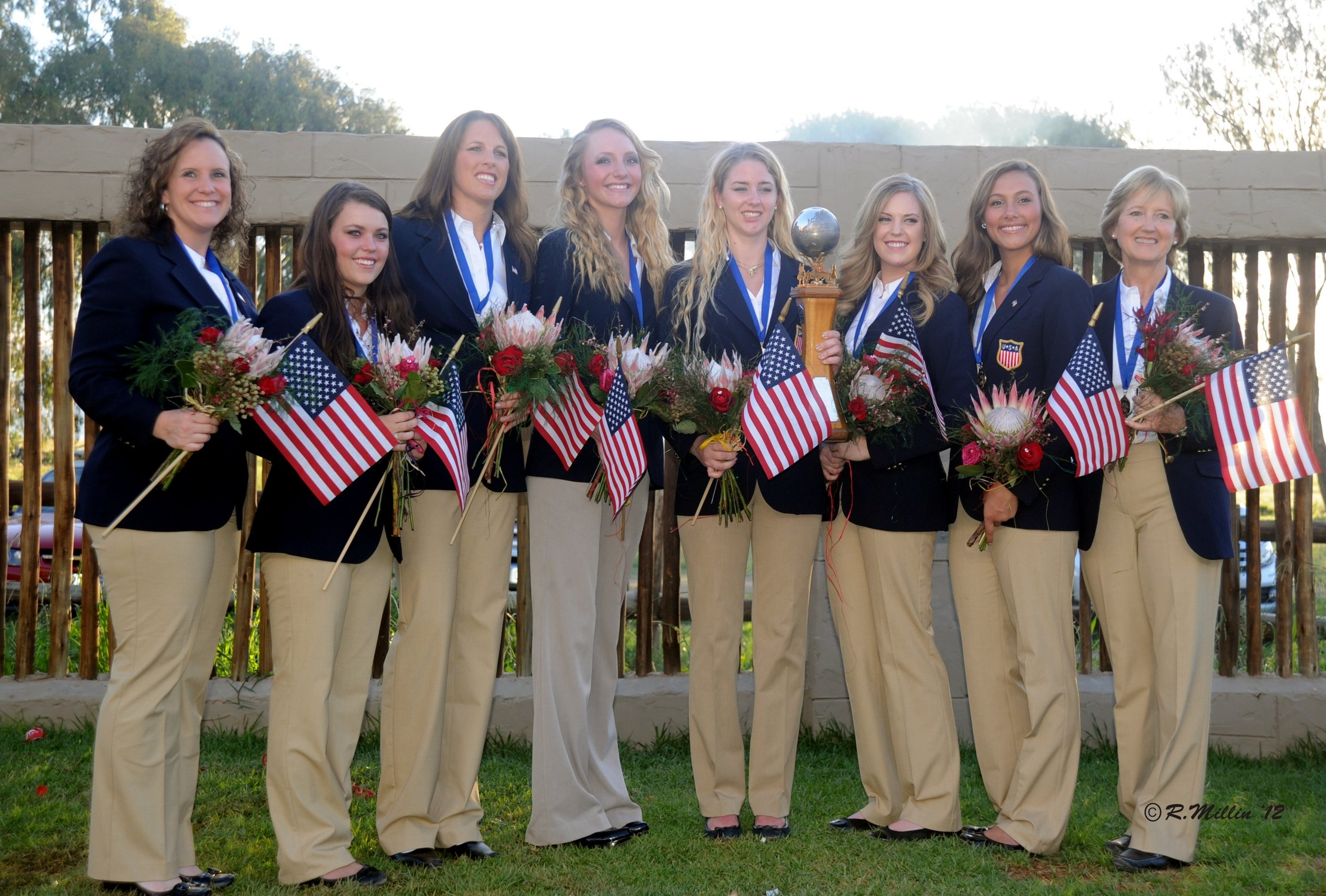 The gold medal-winning Three-Gaited U.S. Saddle Seat Equitation World Cup team. Photo by Ross Millin.