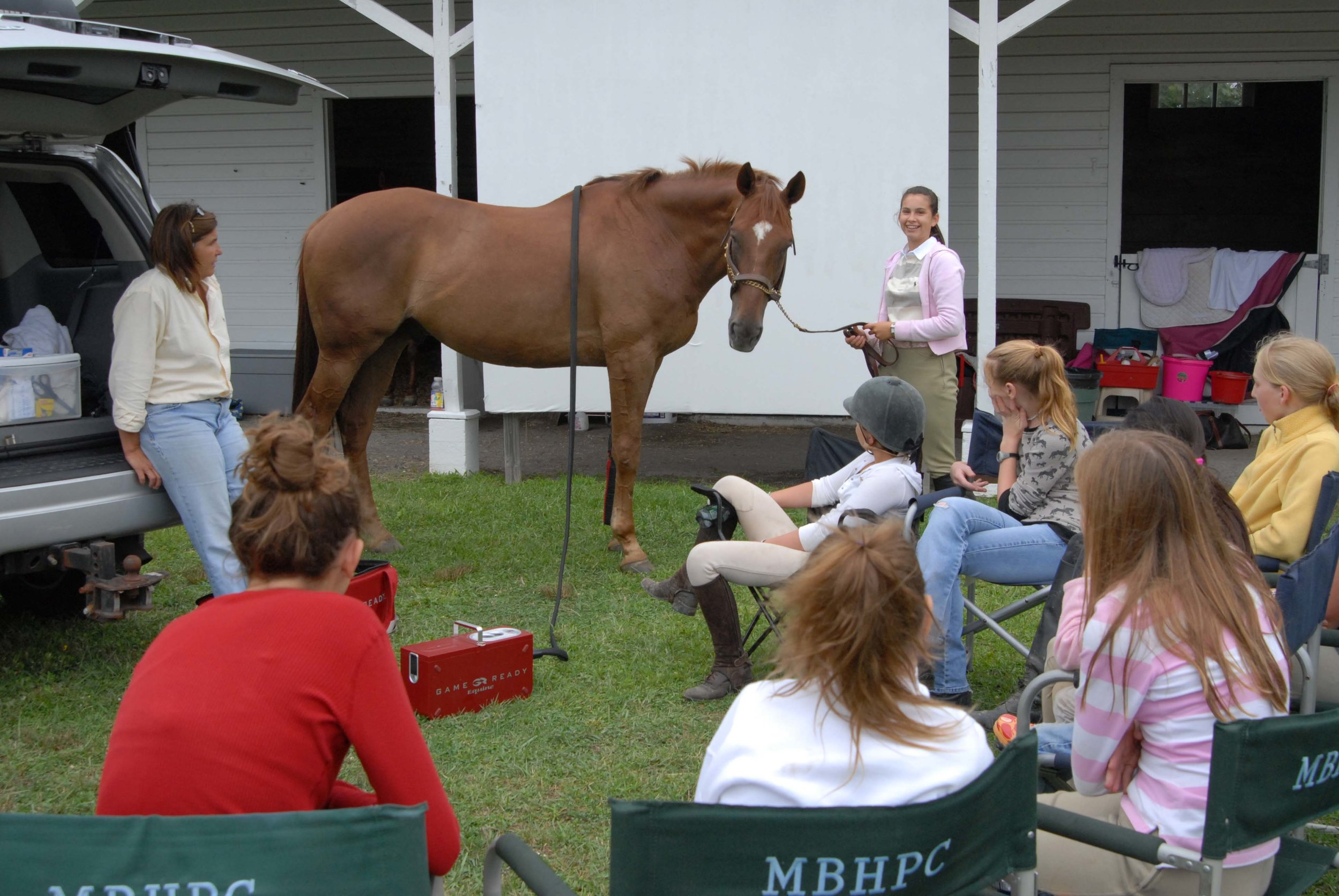 Old Field Farm hosted a lecture on horse care by the Meadowbrook Hounds Pony Club during a Pony Club summer camp. Photo courtesy Old Field Farm, Ltd.