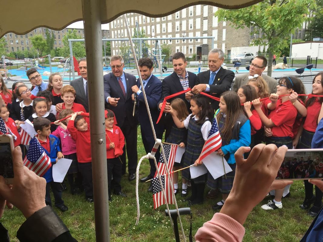 Father Travassos Park ribbon cutting