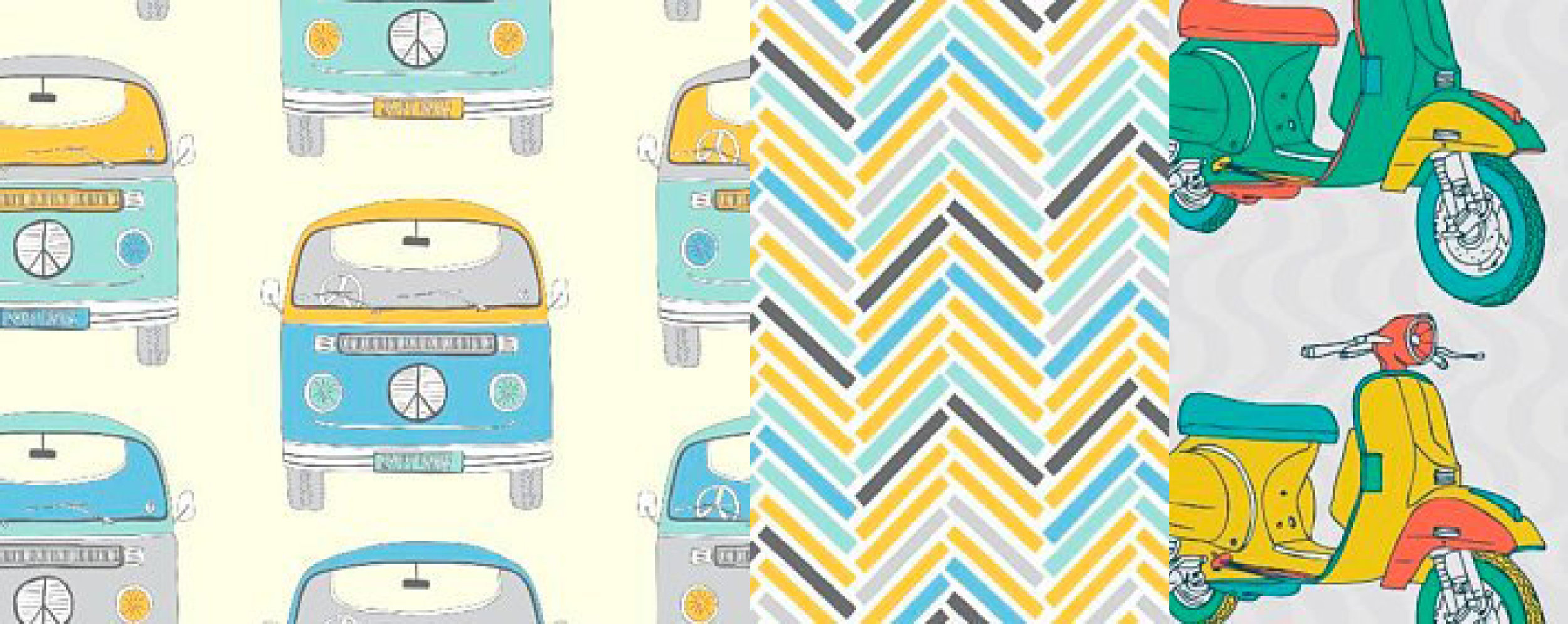 Retro VW fabric by Fabric Freedom with two coordinating fabrics. Available at Art Fabric Studio on Etsy.