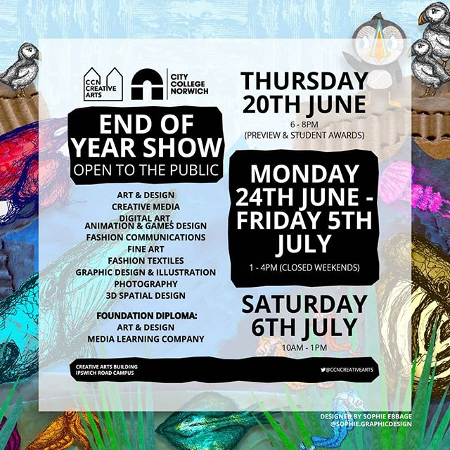 We'll be exhibiting some new projects at the upcoming @citycollegenorwich Creative Arts End of Year Show from 24th June - 5th July 2019. If you missed our Showcase last month, we'll also be screening everything you missed at the launch on 20th June! We'd love to see you there!