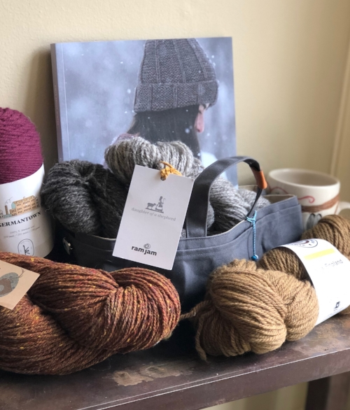 Emily Foden's book   Knits About Winter   – published by Pompom – visible in the back