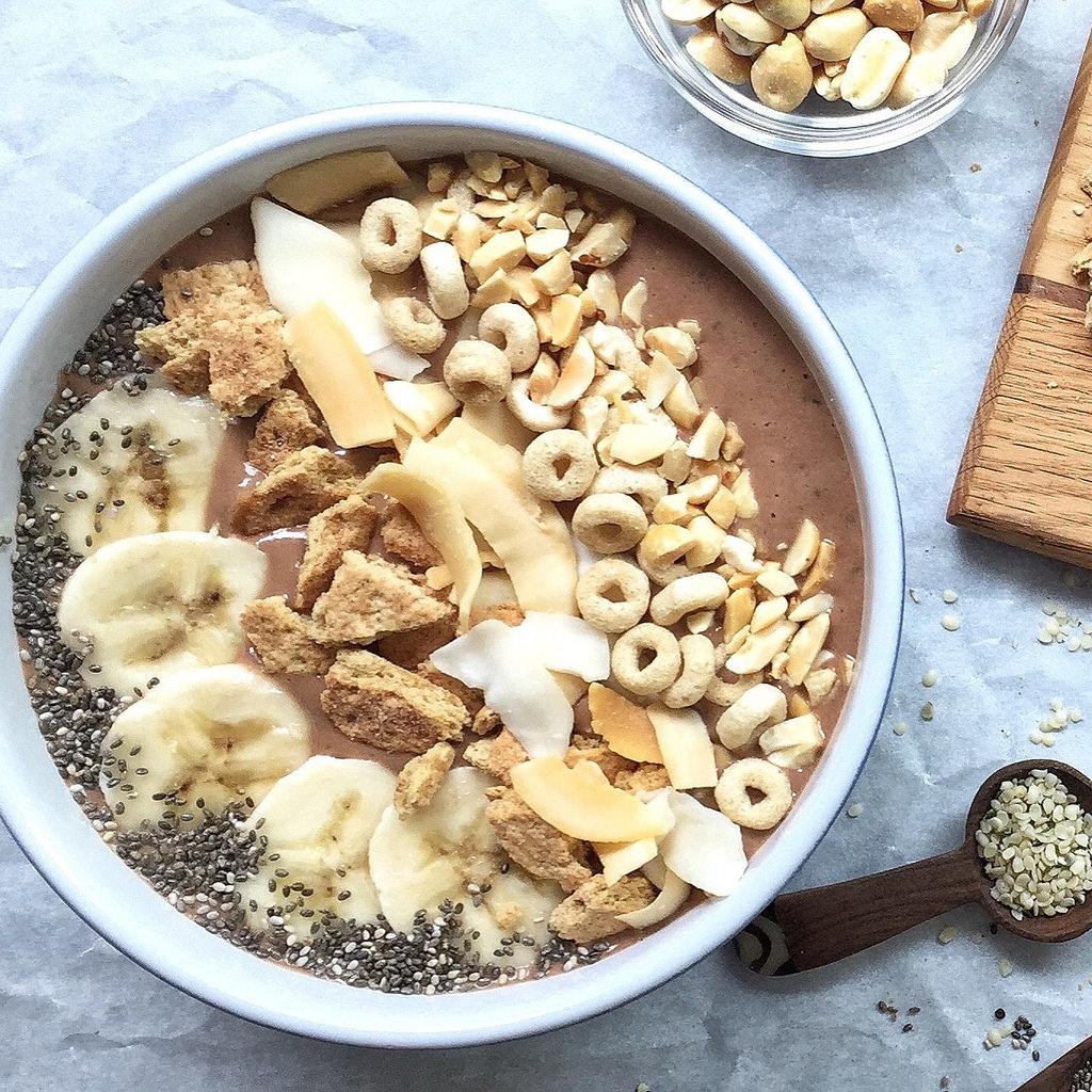 Peanut Butter and Banana Smoothie Bowl - Chocolate, peanut butter and banana! What more could you want? This impressive smoothie bowl has only 270 calories, 34 grams of carbohydrates, 7 grams of fiber, and 10 grams of protein. To keep the carbohydrate count down, choose toppings such as nuts, chia seeds, or unsweetened coconut chips.Find the Recipe HERE