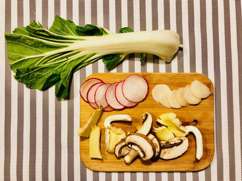 Bok Choy Recipe with radish, mushrooms, and water chestnut.