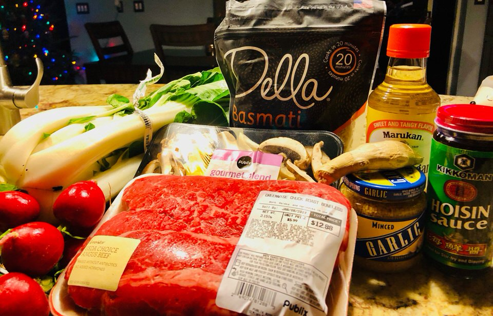 Pressure cooker meat with all of the ingredients in the dish.