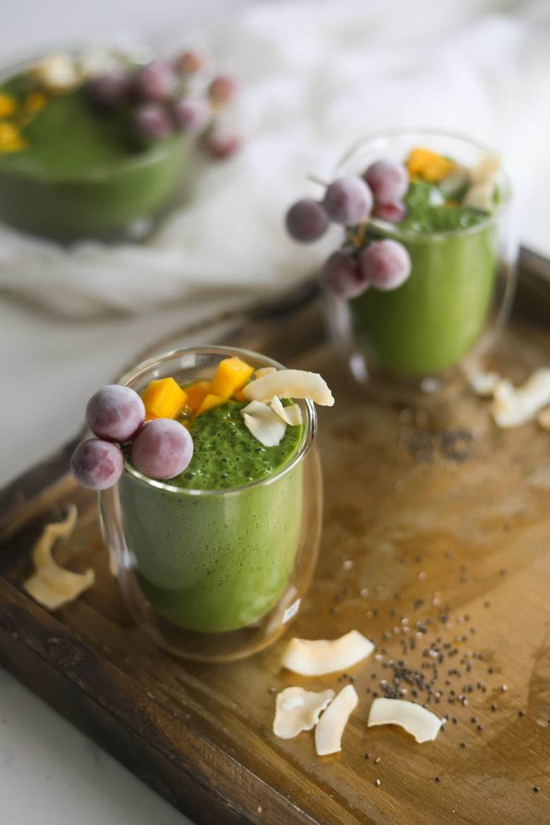 Green Smoothie Recipe - This is a refreshing nutrient packed shake that is perfectly sweet without the added sugar! It is made thick and creamy with banana, pineapple, spinach, and wheatgrass.by Registered Dietitian Shahzadi DevjeClick here for the recipe