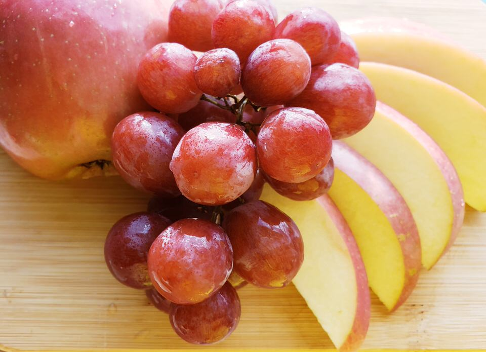 Fruit - Fruit? Yes! I know it sounds a little crazy but give it a try! You won't be disappointed. We recommend using fresh fruit as cooked fruit is likely to fall apart in the cheese.Apples: Apples are the BEST with cheese fondue. Try a Fuji, green apple, or honey crisp apple.Grapes: Cheese and wine are amazing so why not cheese and grapes!Pears: Crisp and juicy always goes great with cheese fondue.