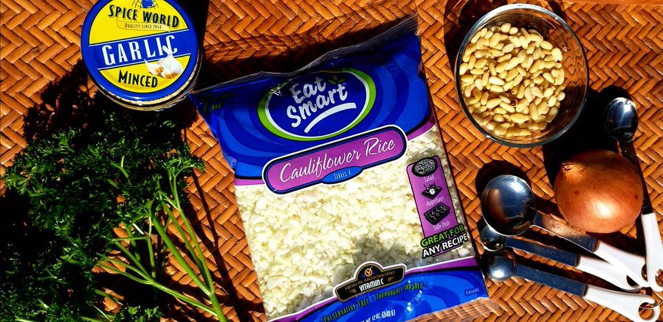 Cauliflower rice pilaf ingredients.