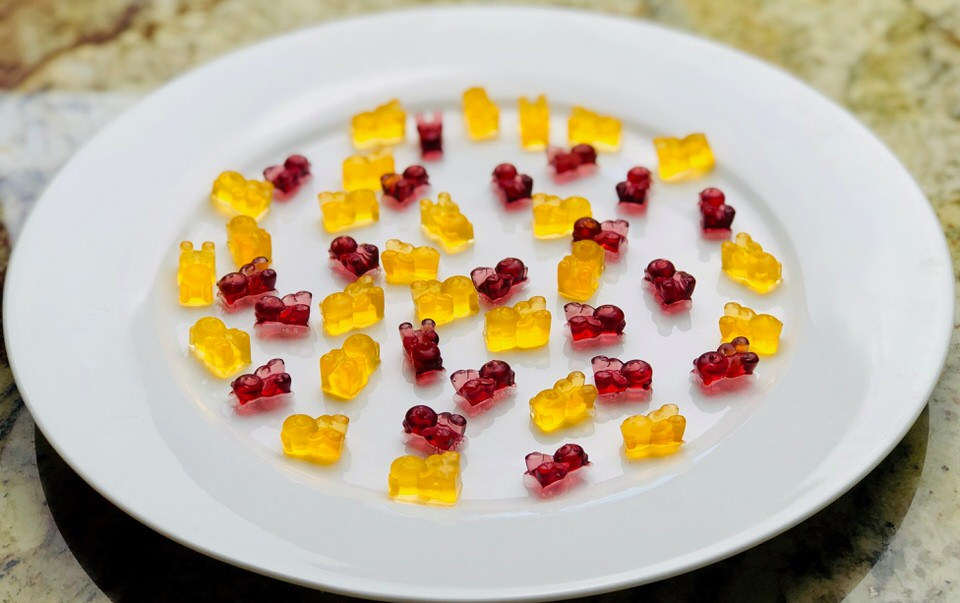 Low Carb Gummy Bears made with fruit juice.