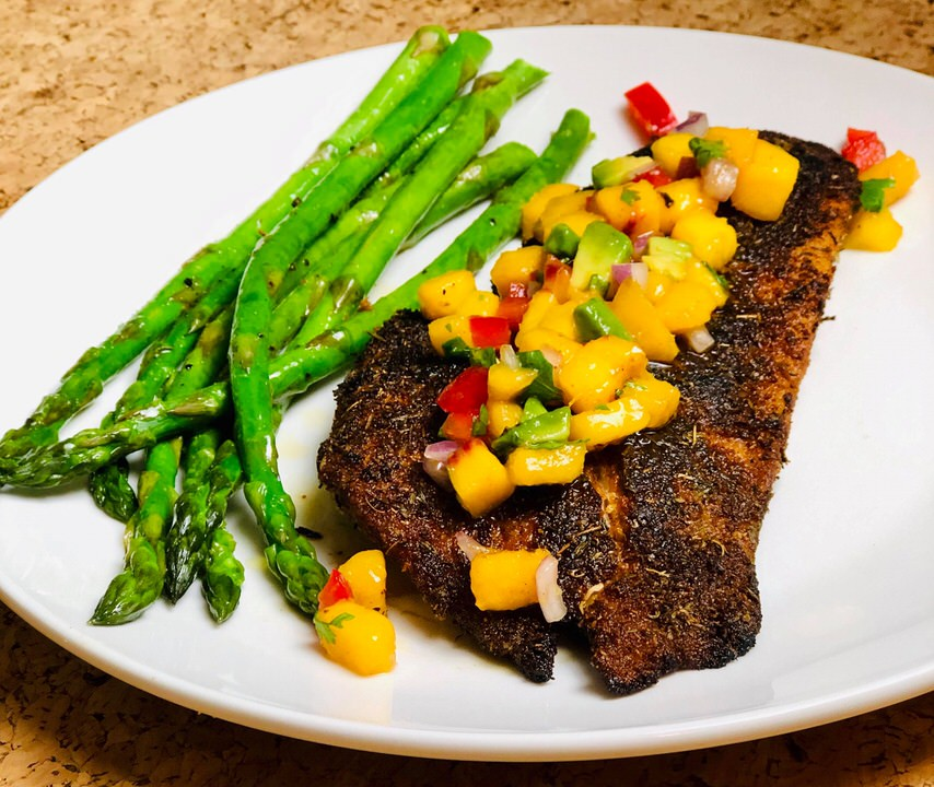 Blackened Red Snapper with Peach Salsa.