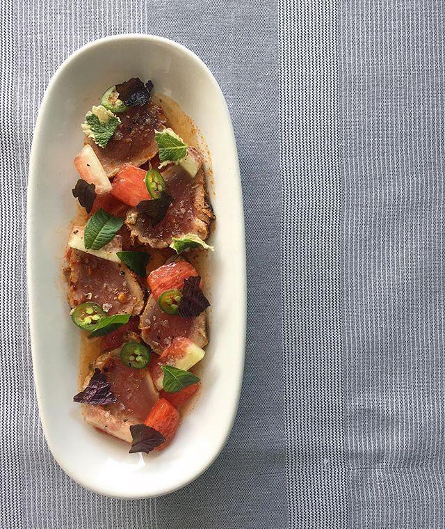 Spicy watermelon & tuna, Serrano and rind pickles #nola #nolaeats #eatingnola #eaternola #simple #beatdaheat #iceberg