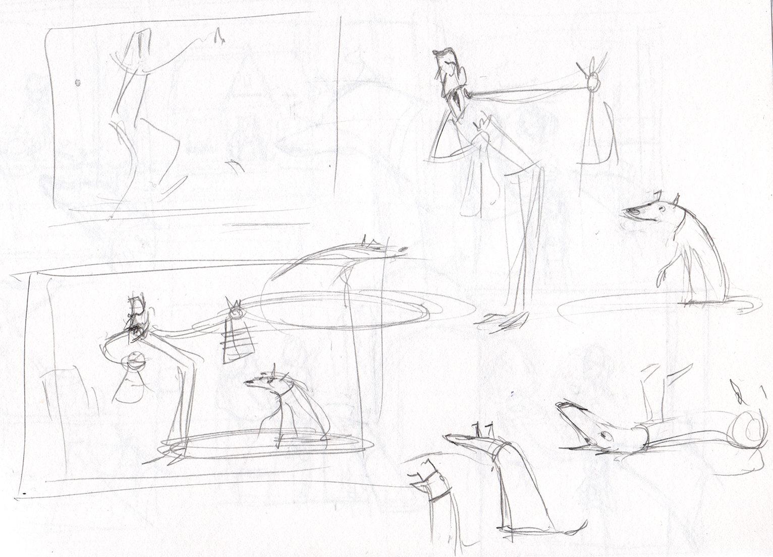 """First there are many """"thumbnail"""" drawings made to figure things out. These are a few of them. (I thumbnail out the whole story before I start making any final illustrations.)"""