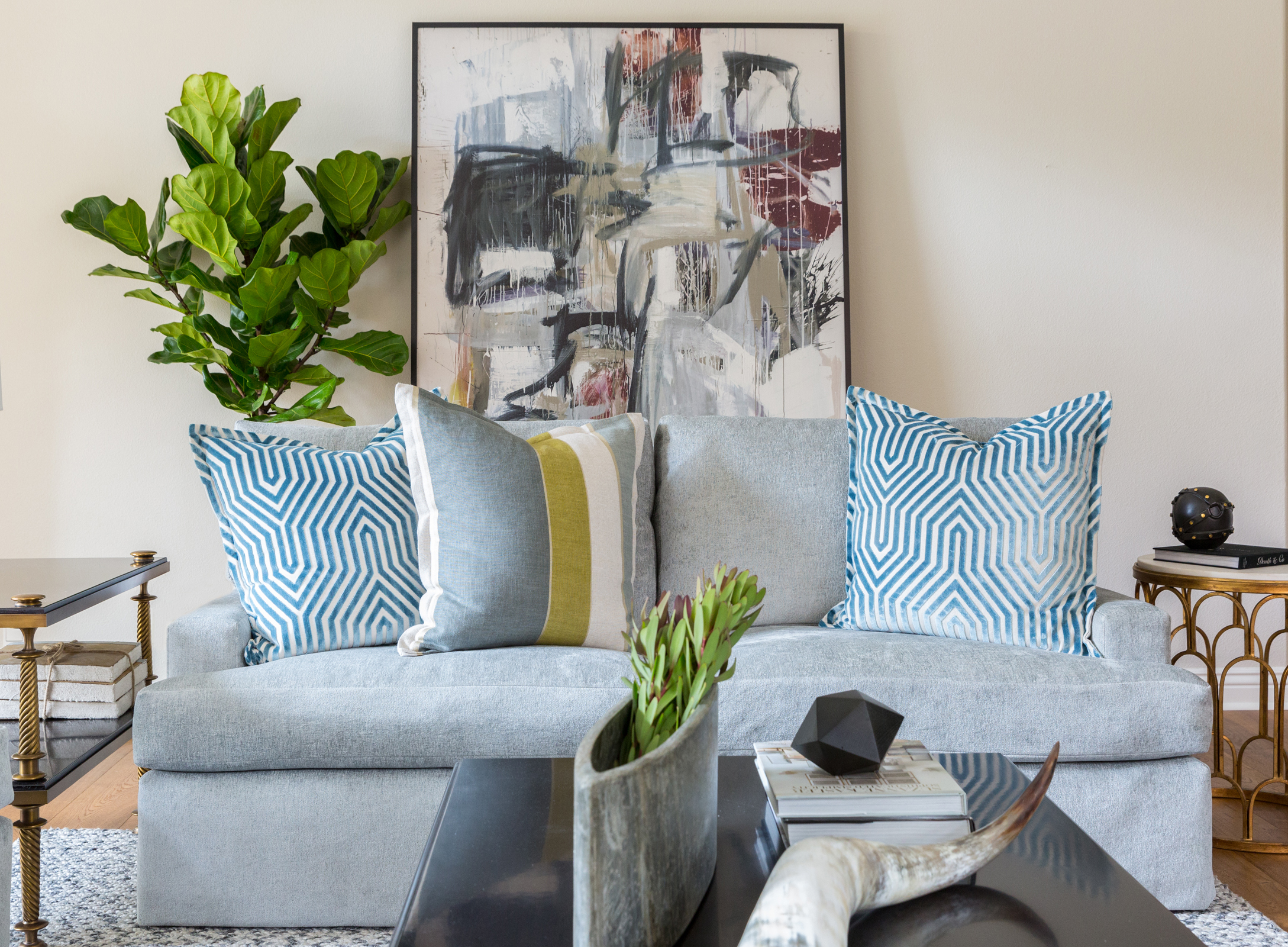 Our clients weren't afraid to go bold in their fun and funky family room!