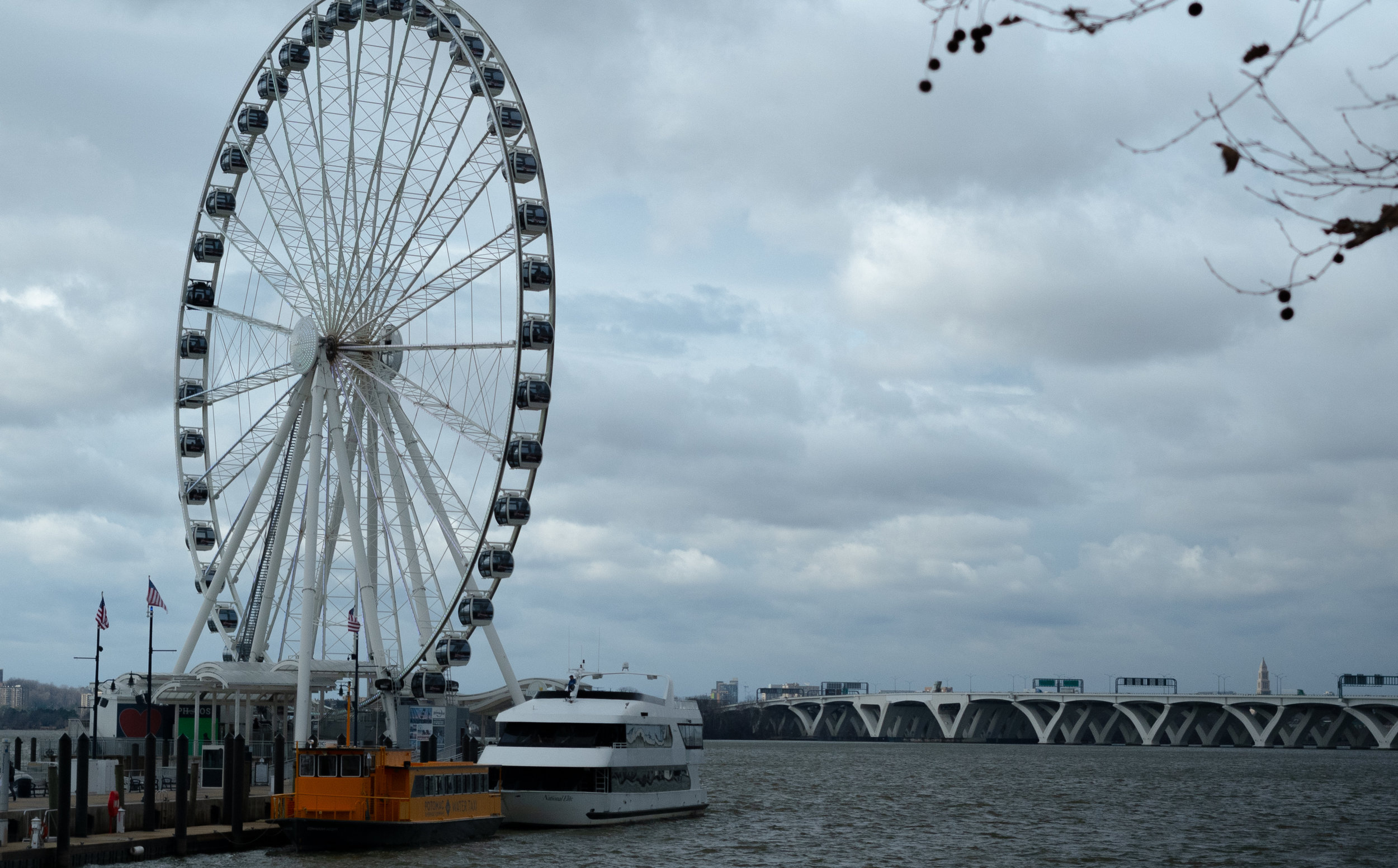 A view of the National Harbor and its signature Ferris Wheel