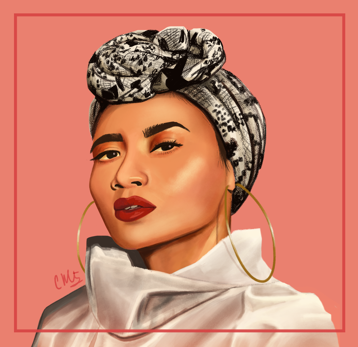 Fan art portrait of Yuna Zarai, based on a photo on her Instagram.