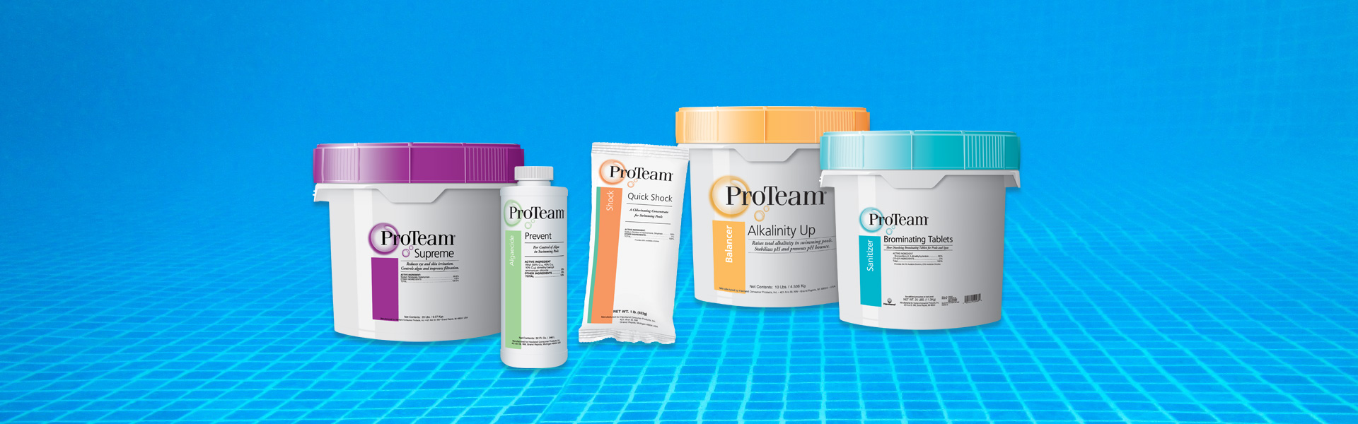 We offer some of the best pool chemicals available, like the line from ProTeam.